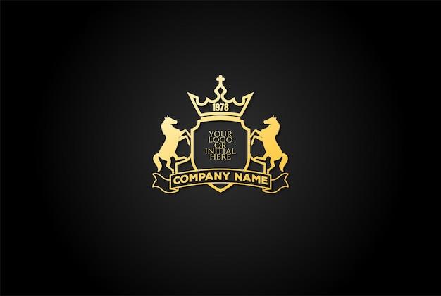 Elegante lusso cavallo stallone scudo distintivo emblema stemma logo design vector