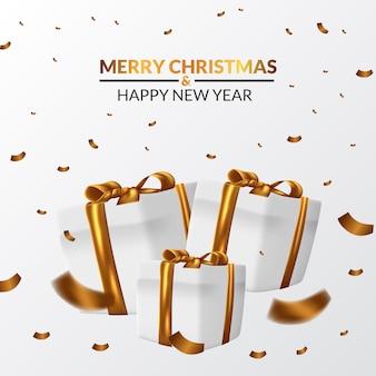 L'illustrazione di lusso elegante del bianco avvolge il pacchetto della scatola del presente del regalo con il nastro dorato per natale e buon anno con i coriandoli dorati volanti.