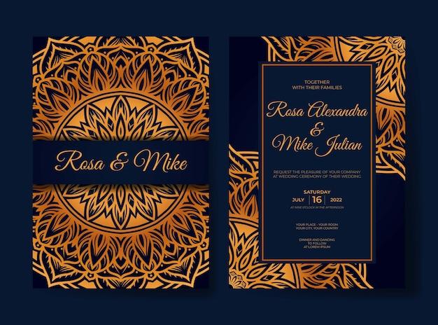Elegante modello di invito a nozze mandala di lusso