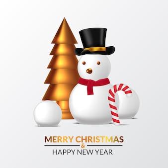 Elegante lusso di buon natale e felice anno nuovo. illustrazione della scultura 3d pino dorato albero di natale con palla di neve, pupazzo di neve con cappello e cono di caramella.