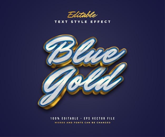 Elegante stile di testo di lusso in bianco, blu e oro con texture ed effetto goffrato