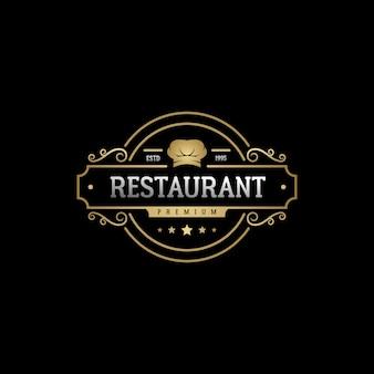 Design del logo del ristorante dell'etichetta del distintivo dell'emblema dell'annata di lusso elegante