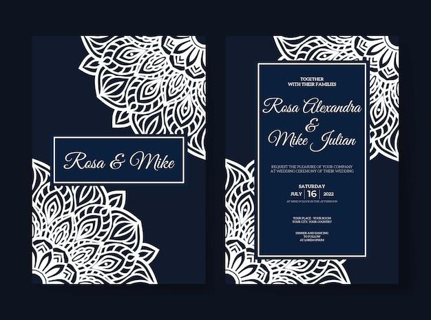 Invito a nozze di lusso elegante con design mandala