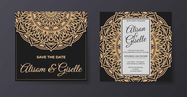 Invito a nozze di lusso elegante con modello mandala