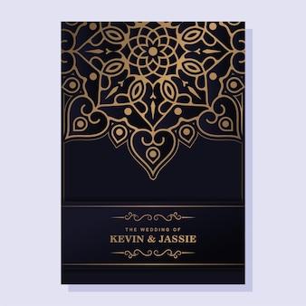 Design elegante del modello di carta di invito a nozze mandala