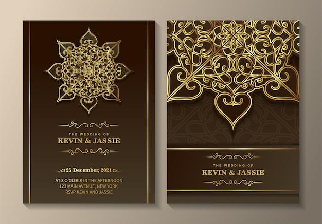 Design elegante modello di carta di invito a nozze mandala
