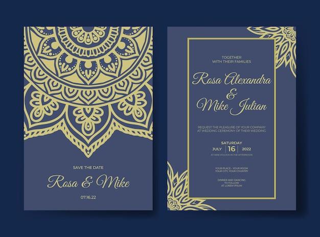 Elegante modello di invito a nozze mandala premium