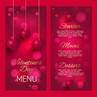Design elegante del menu per san valentino