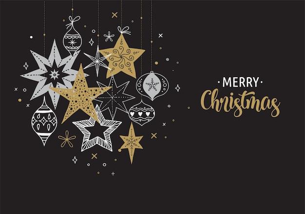 Elegante modello di sfondo, banner e biglietto di auguri di buon natale, raccolta di fiocchi di neve, stelle, decorazioni natalizie, illustrazione disegnata a mano