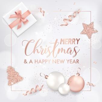 Elegante biglietto di auguri di buon natale con palline di albero di natale in oro rosa, stelle, regali per inviti, auguri o volantini e brochure di capodanno 2019
