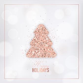 Elegante cartolina di buon natale con albero di natale glitter oro rosa per invito o auguri o volantino e brochure di capodanno 2019