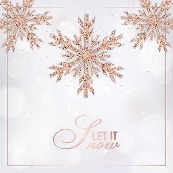 Elegante cartolina di buon natale con fiocchi di neve glitter oro rosa per invito, auguri o volantino e brochure di capodanno 2019