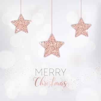 Elegante cartolina di buon natale con stelle glitter oro rosa per invito o auguri o volantino e brochure di capodanno 2019