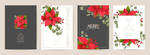 Elegante set di cartoline di buon natale e anno nuovo con fiori realistici di poinsettia, vischio. illustrazione di design di piante 3d invernali per saluti, invito, volantino, brochure, copertina in vettoriale