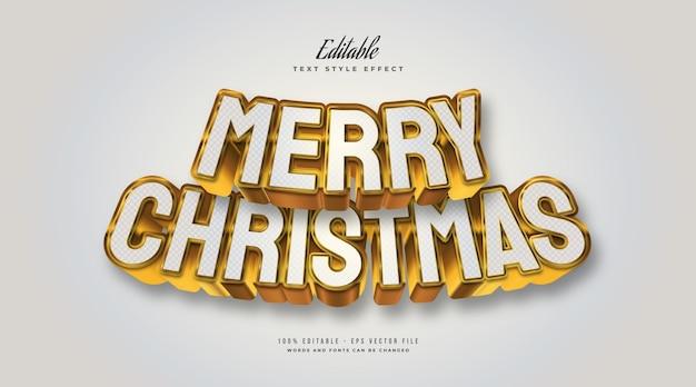 Elegante testo di buon natale in bianco e oro con effetto 3d. effetto stile testo modificabile