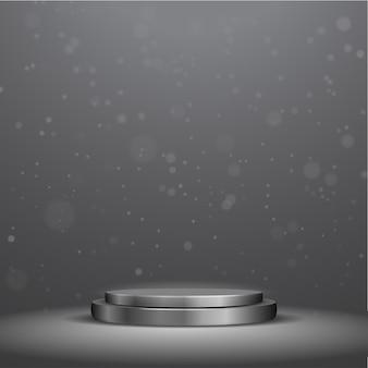 Elegante podio nero metallizzato con riflettori e luci bokeh