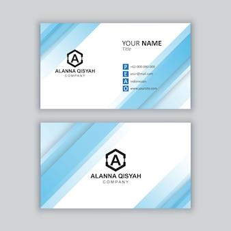 Elegante modello di biglietto da visita blu e bianco minimo