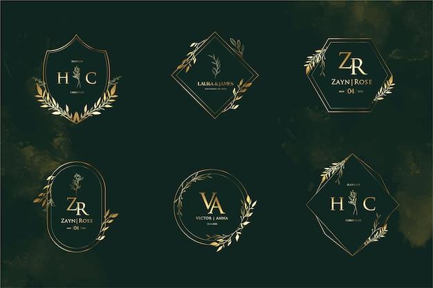 Collezioni di modelli monogramma logo matrimonio oro elegante e minimalista