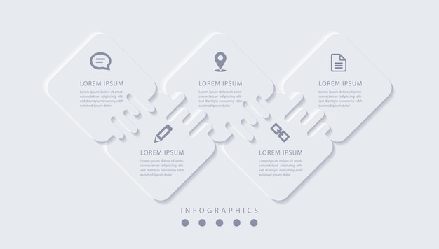Elegante infografica minimalista con 5 passaggi