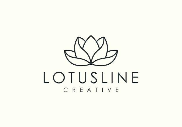 Elegante linea minimalista logo vettoriale di loto