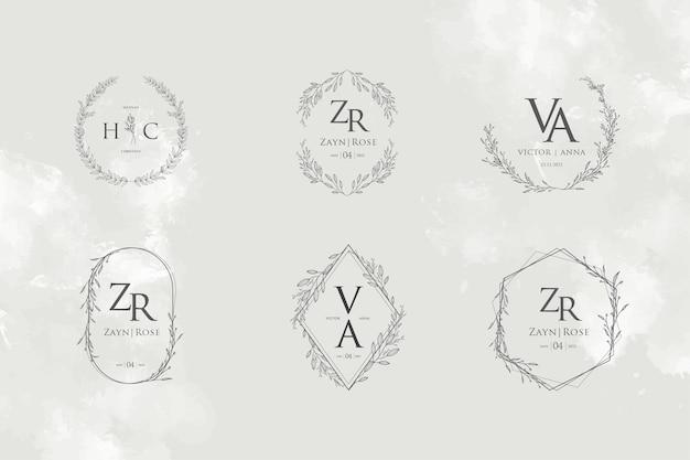 Collezioni di modelli monogramma logo matrimonio elegante e minimalista