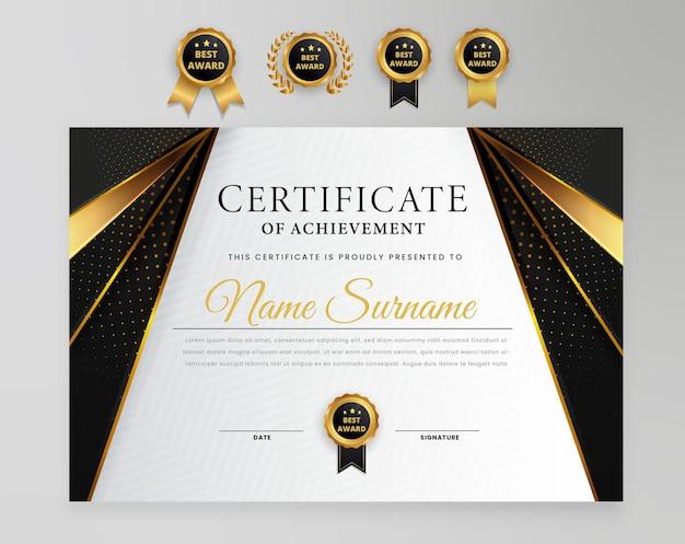Diploma di premio certificato moderno elegante con modello di bagdes