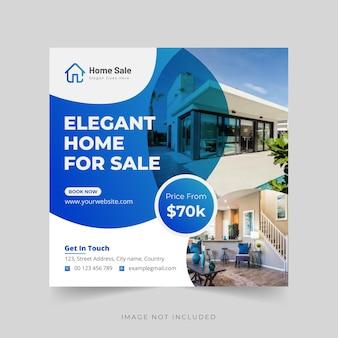 Elegante e moderna casa da sogno o modello di post o banner per instagram vettore premium