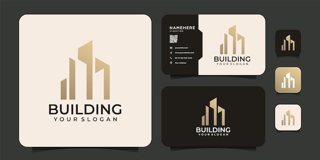 Elegante e moderno logo di edificio immobiliare per società di proprietà residenziali di appartamenti