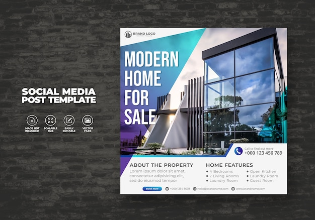 Elegante casa immobiliare moderna in vendita social media banner post & square flyer modello