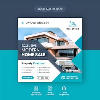 Elegante casa moderna immobiliare in vendita banner di social media