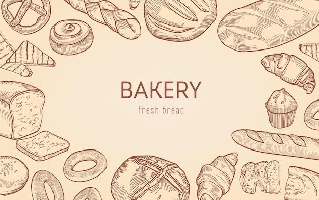 Elegante cornice monocromatica sfondo fatta di pane, prodotti da forno dolci, pasticceria fatta in casa