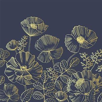 Elegante sfondo quadrato naturale con fiori di papavero che crescono dal bordo inferiore disegnati a mano con linee di contorno dorate su sfondo nero. bella decorazione floreale. illustrazione botanica di vettore.
