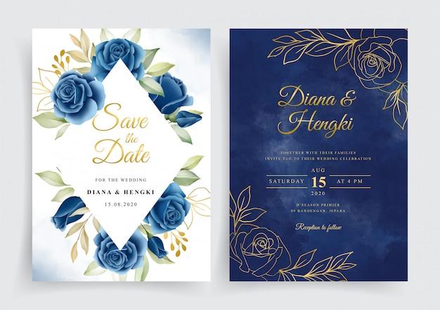 Elegante corona floreale blu e oro blu scuro sul modello di carta di invito a nozze