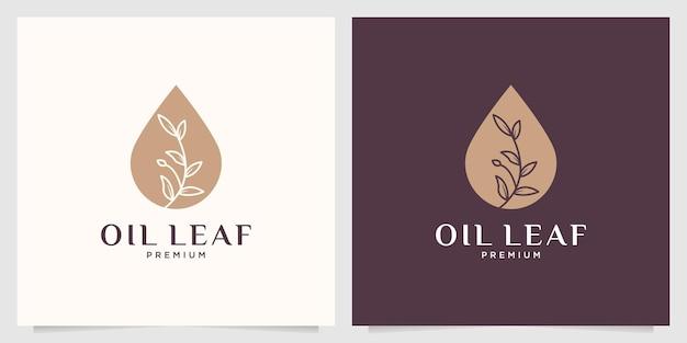 Elegante design del logo femminile a foglia d'olio