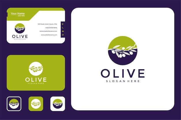 Elegante design del logo oliva e biglietto da visita