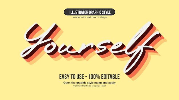 Elegante effetto di testo modificabile con caratteri corsivi arancioni