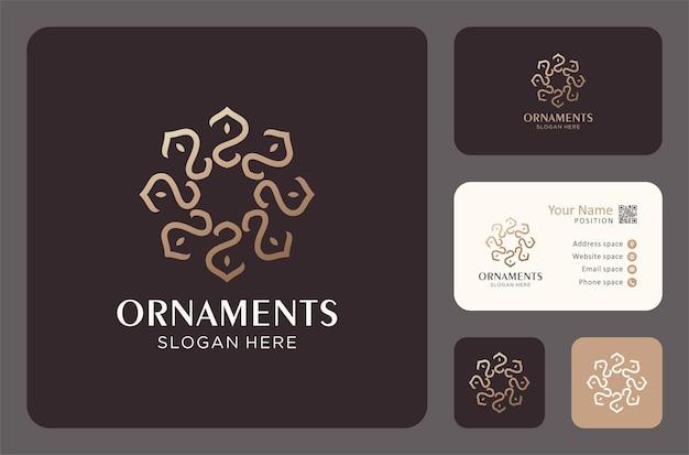 Elegante design del logo dell'ornamento e modello di biglietto da visita.