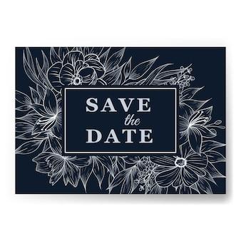 Modello di carta di invito a nozze fiore elegante contorno