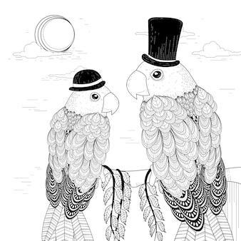 Pagina da colorare di eleganti pappagalli in stile squisito