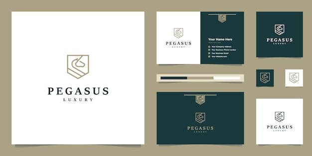 Elegante pegaso. cavallo premium minimalista. sagoma mitica in stile pegasus, ispirazione logo design premium.