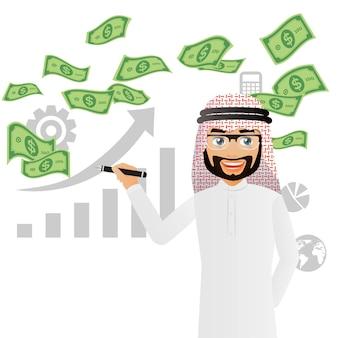 Gente elegante uomini d'affari arabi su un mucchio di soldi in contanti