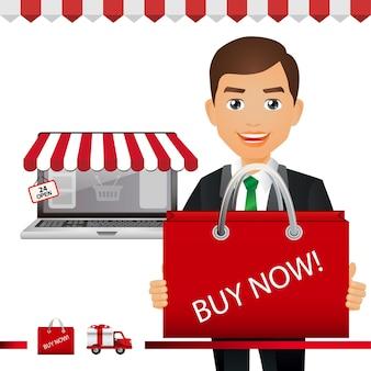 Gente elegantegli uomini d'affari acquistano oggetti dal negozio online