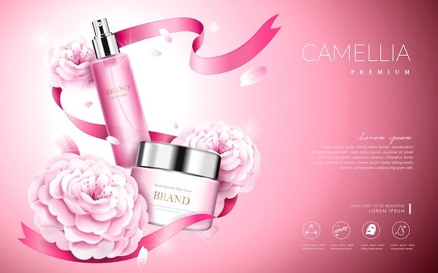 Elegante camelia rosa con bottiglia crema e nastri