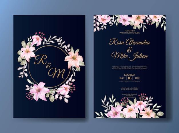 Modello di invito matrimonio floreale rosa elegante
