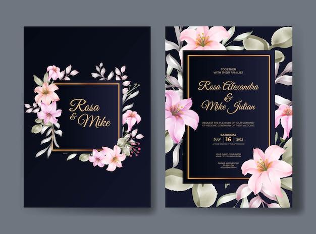 Modello di invito matrimonio floreale rosa rosa elegante