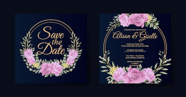 Elegante modello di invito a nozze floreale rosa rosa