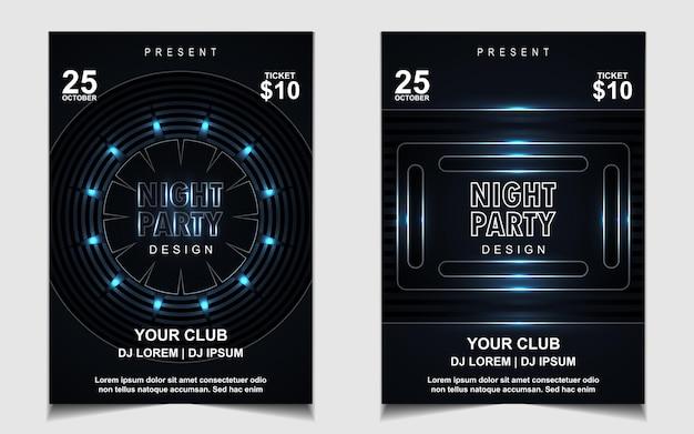 Modello di poster elegante per festival di musica elettronica con luce blu