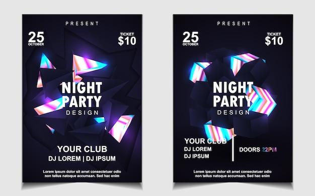 Modello di poster elegante per festival di musica elettronica con luce colorata