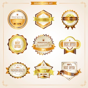 Elegante collezione di etichette dorate di alta qualità su beige