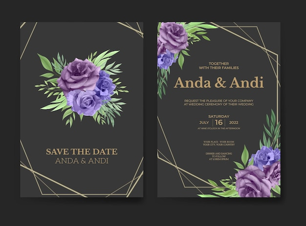Modello di carta di invito matrimonio elegante fiore rosa viola